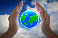Abstract globe in the hand, protect our world Stock Illustration