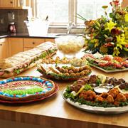 Superbowl Party Food on a Kitchen Island - stock photo