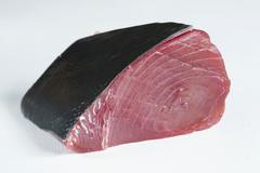 Fresh tuna fillet with skin Stock Photos