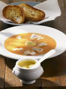 Bouillabaise with rouille and toasted bread Stock Photos