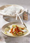 Chinese cabbage curry with rice Stock Photos