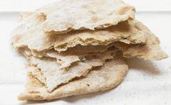 A stack of crispy unleavened bread - stock photo