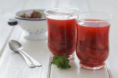Cold strawberry soup in glasses Stock Photos