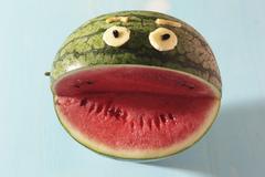 A watermelon face Stock Photos