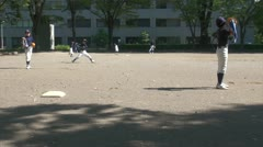 Japanese kids are practicing pitching at a baseball field in Nagoya Stock Footage