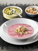 Beetroot soup with raw char - stock photo