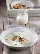 Vichysoisse (cold leek and potato soup, France) - stock photo