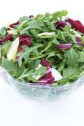 Bowl of Salad with Arugula and Red Cabbage Stock Photos