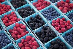 Baskets of Organic Blueberries, Raspberries and Blackberries at a Market - stock photo