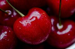 Close Up of Red Cherries - stock photo