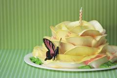 Rose Cake with Butterfly Decoration and a Polk-a-Dot Candle Stock Photos