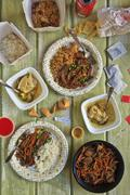 Chinese Take Out Food Spread on a Table; From Above Stock Photos