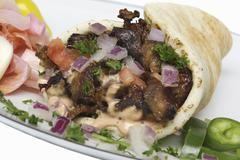 Pork and Red Onion Gyro - stock photo