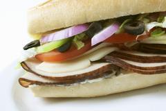 Turkey Sandwich on a Sub Roll Stock Photos