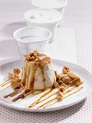 Stock Photo of Coffee ice cream with Amerettini and caramel sauce