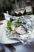 Trout wrapped in aluminium foil with lemon and basil Stock Photos