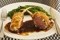 Feta Crusted Lamb with Broccolini Stock Photos