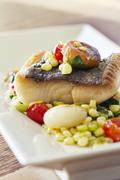 Black Cod with Succotash - stock photo