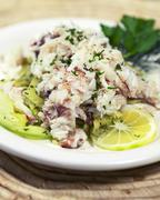 Rock Crab and Shaved Fennel Salad with an Avocado Vinaigrette Stock Photos