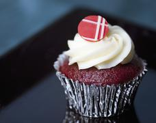 One Red Velvet Cupcake Stock Photos