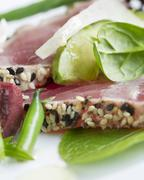 Close Up of Sesame Seed Ahi Tuna Salad - stock photo