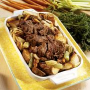 Braised beef with vegetables - stock photo