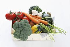 A box of organic vegetables Stock Photos