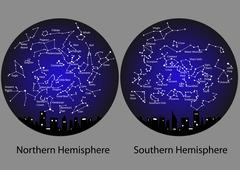 constellations of the northern and southern hemisphere - stock illustration