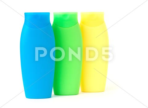 Stock photo of plastic cosmetic bottles
