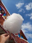 A hand holding candy floss at a fair - stock photo