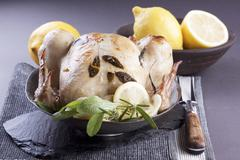 Roast chicken with sage and lemons - stock photo
