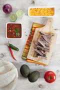 Tortillas and Filling For Steak Fajitas Stock Photos