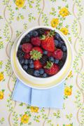 Stock Photo of Bowl of Mixed Fresh Berries; From Above