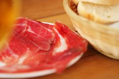 Pata negra ham and bread - stock photo