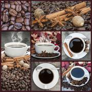 collage of coffee and caffeine related images - stock photo