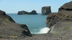 Iceland Dyrhoaey seastacks Stock Footage
