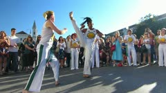 Street Festival Capoeira martial art self defense Stock Footage