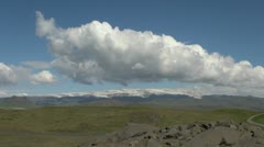 Iceland Dyrholaey clouds over glacier Stock Footage