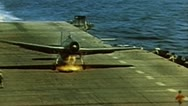 Stock Video Footage of WW2 - ColorFootage - US plane crash landing on carrier