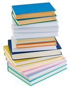 Big pile of books on a white background Stock Photos