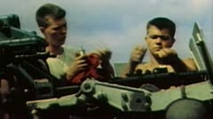 WW2 - ColorFootage - soldiers loading anti air guns on us carrier - stock footage