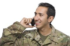 Hispanic Serviceman on the Phone Stock Photos