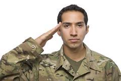 Hispanic Soldier salutes on white background Stock Photos