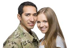 Military Man and Spouse Stock Photos