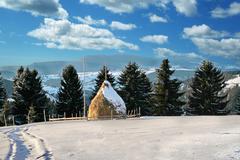 Haystack in winter Stock Photos