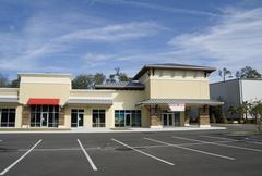 Upscale beige strip mall Stock Photos