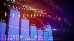 Bar chart and global map Stock Footage