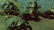 WW2 - ColorFootage - TBF avangers on carrier flight deck Stock Footage
