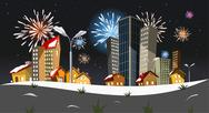 Vector city - new year Stock Illustration