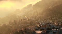 Snow covered village in the Swiss Alps 02 Stock Footage